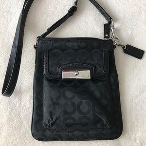 Coach black fabric signature C crossbody bag